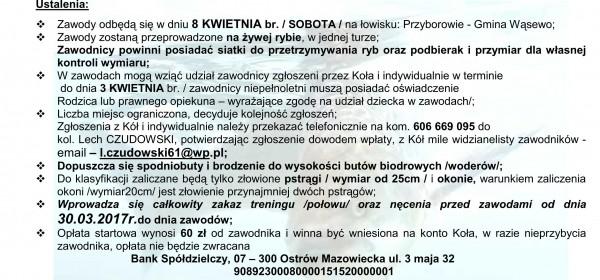KOMUNIKATY O ZAWODACH SPINNINGOWYCH O PUCHAR WÓJTA GMINY WĂ SEWO - PSTRĂ G 2017_01